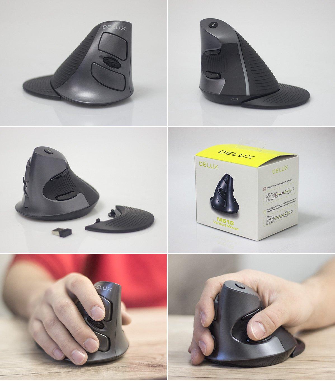 Realne zdjęcia pionowej myszy ergonomicznej Delux M618