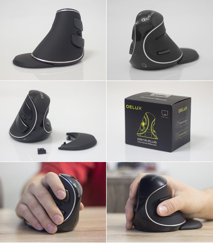Realne zdjęcia pionowej myszy ergonomicznej Delux M618 Plus