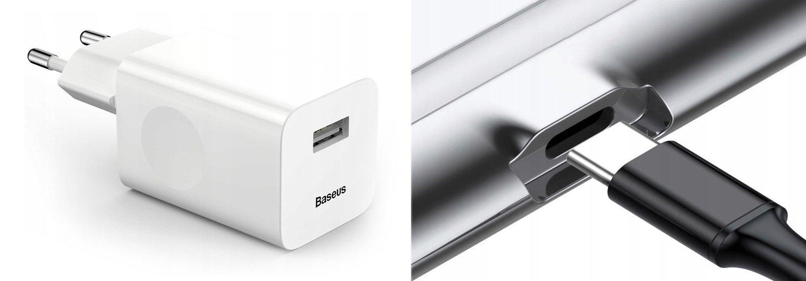 W zestawie do podwójnej ładowarki indukcyjnej Baseus ładowarka sieciowa i kabel USB typu C