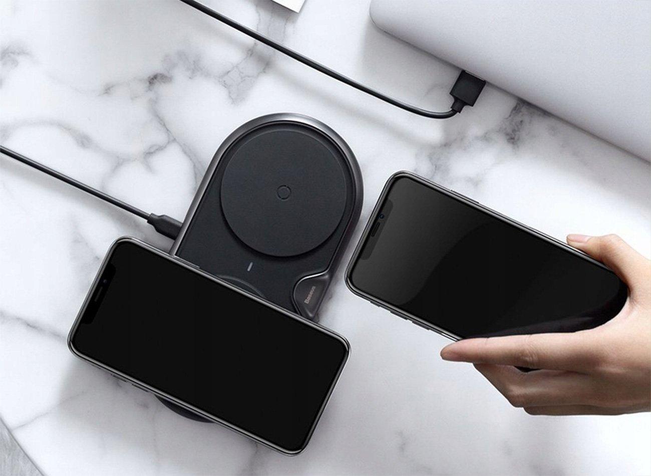 Naładuj telefon iPhone lub Samsung ładowarką indukcyjną Baseus