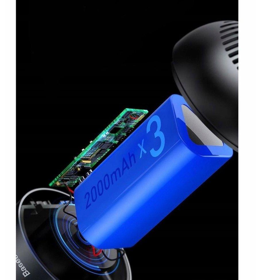 Wyposażony w akumulator litowo-jonowy 2400 mAH i trzy baterie zasilające potrajające żywotność baterii, zapewniają do ~25 minut silnego odsysania po pełnym naładowaniu które trwa tylko 3h